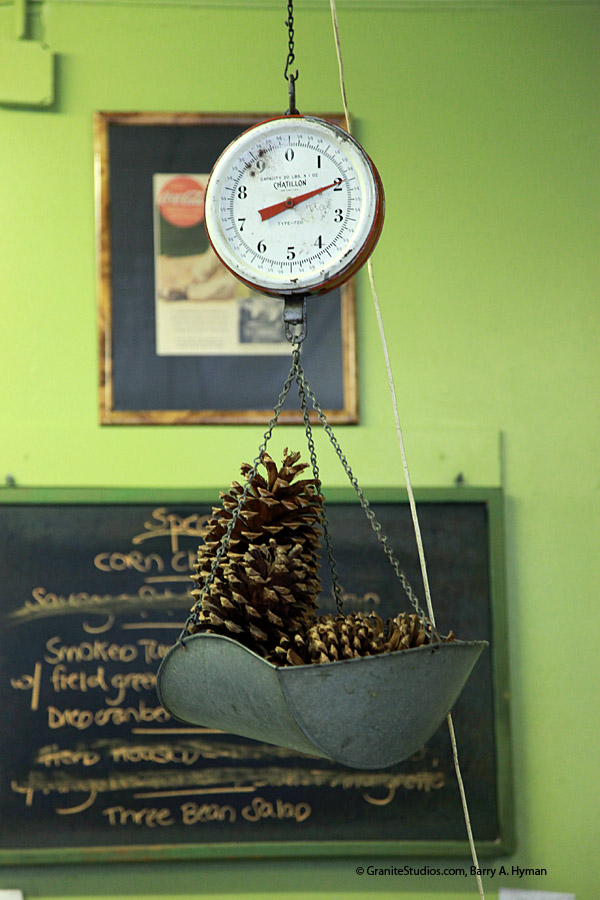 Winfield Deli, Norwalk, CT, pinecone, scale, green, scale. photograph, Barry A Hyman, Granite Studios